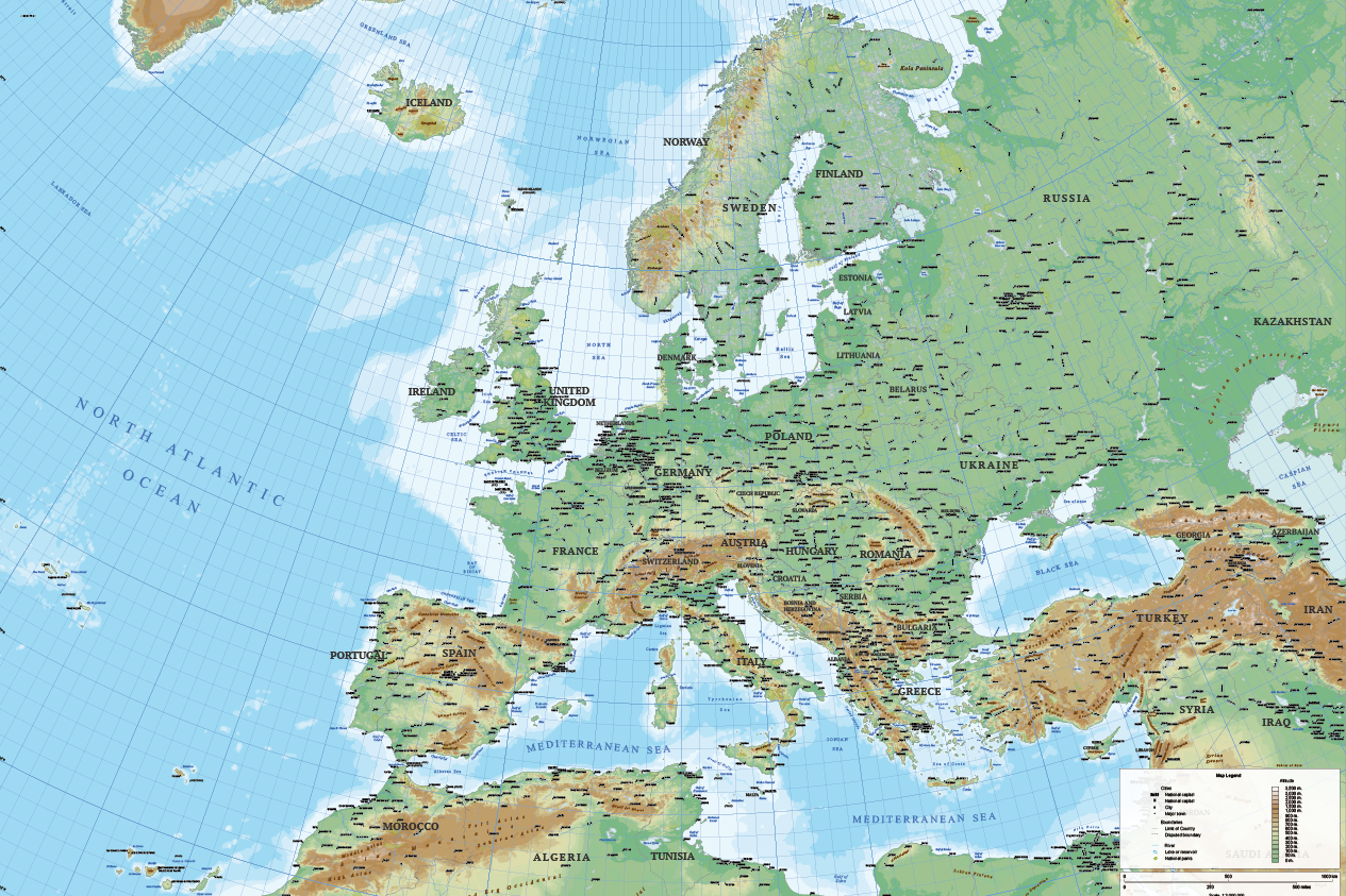 Europe Relief Map   Cartorical