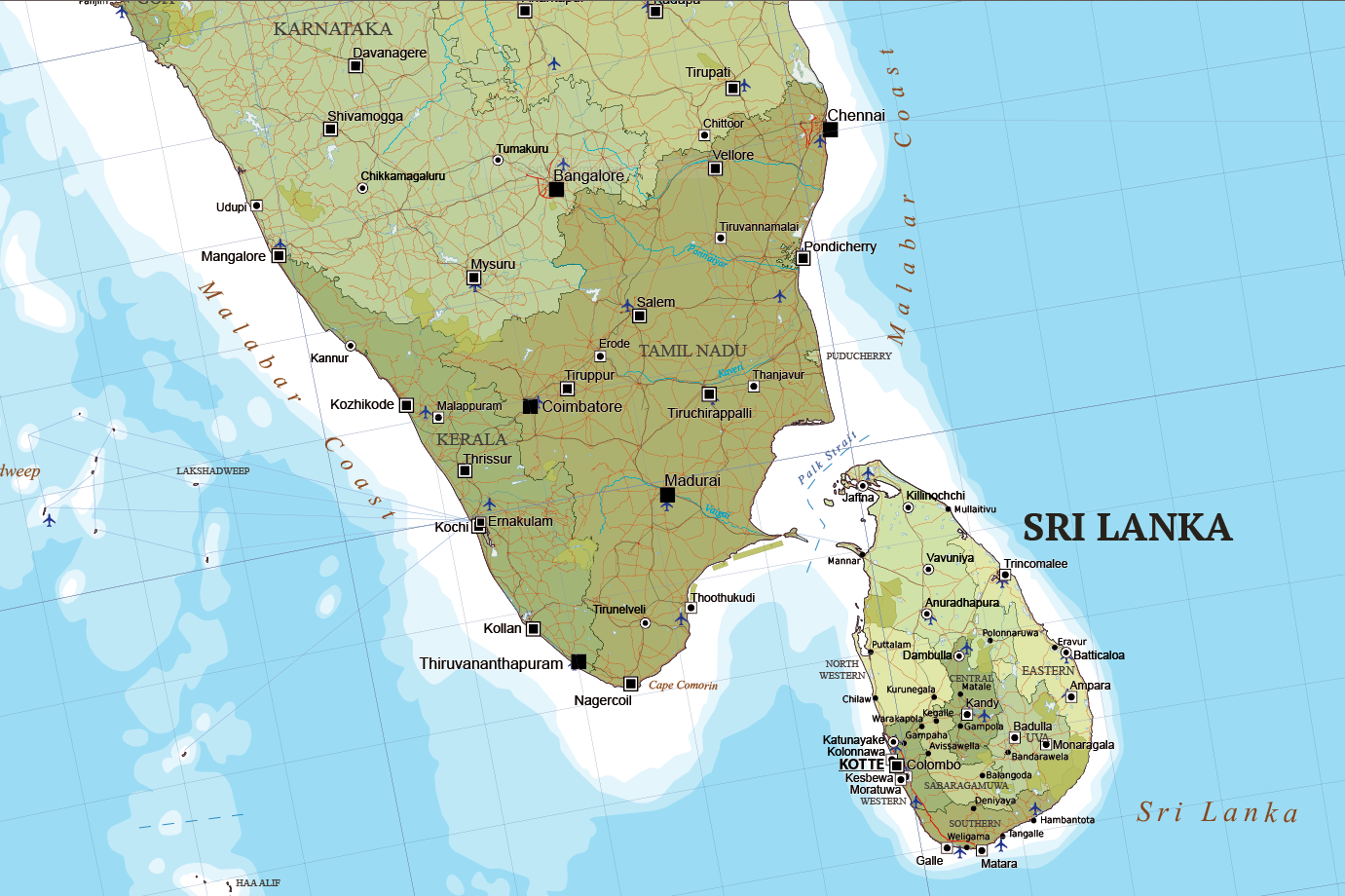 map of south asia and near east