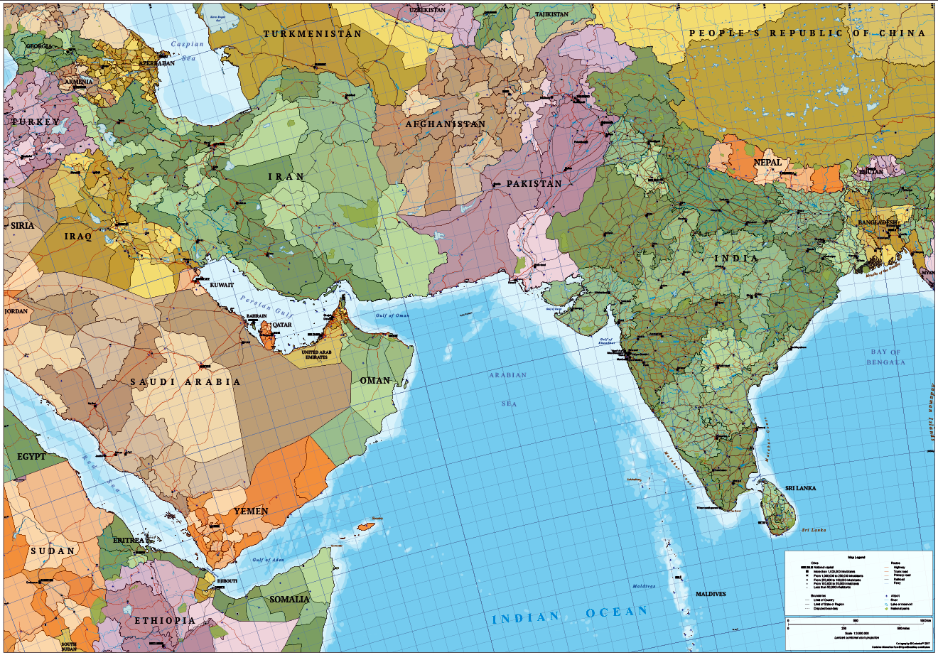 Map of south asia and near east cartorical map of south asia and near east gumiabroncs Image collections