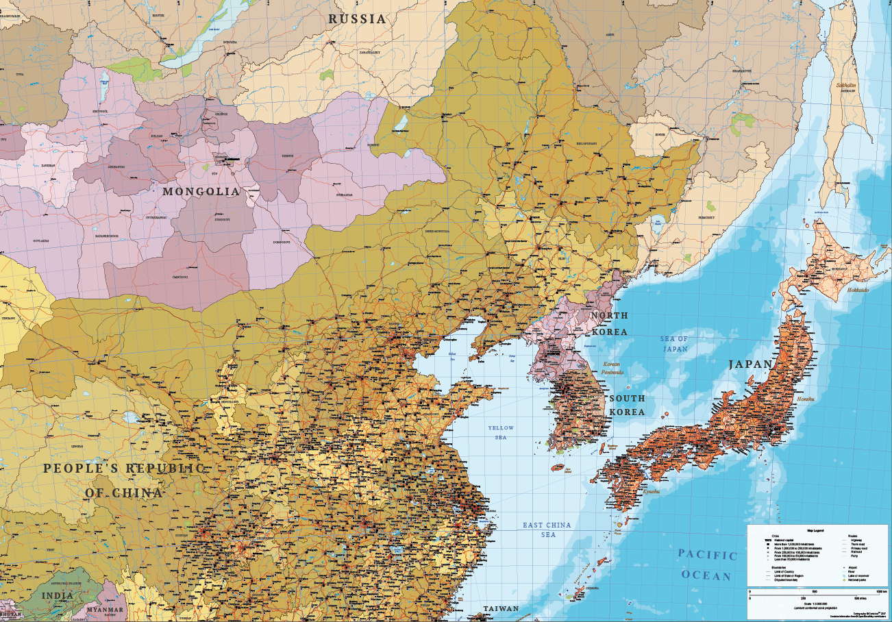 East Asia Political Map Map of South