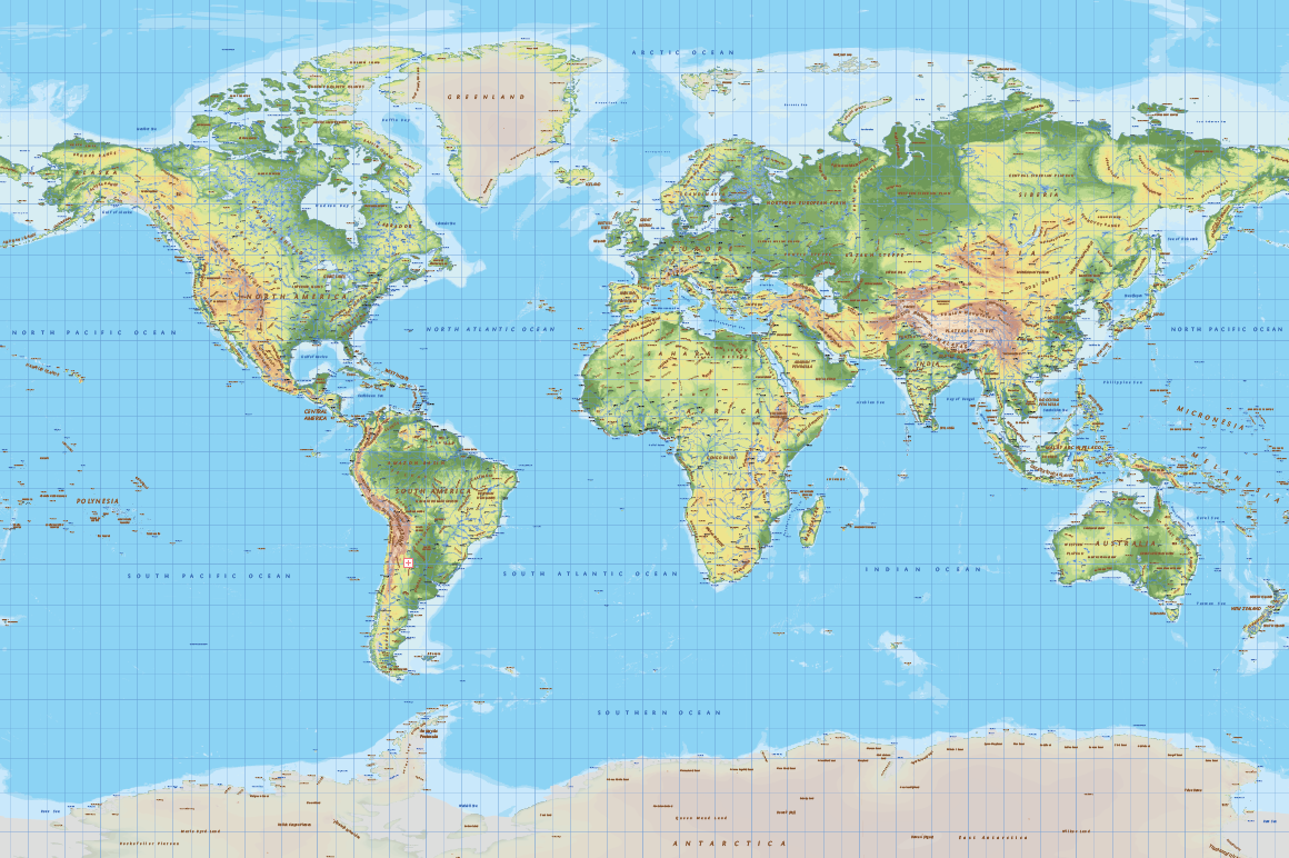 World Topographic Map Cartorical - Topographic map of the world